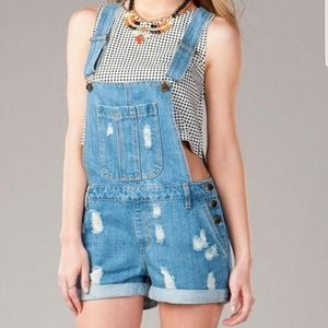 Harper Denim Distressed Short Overall